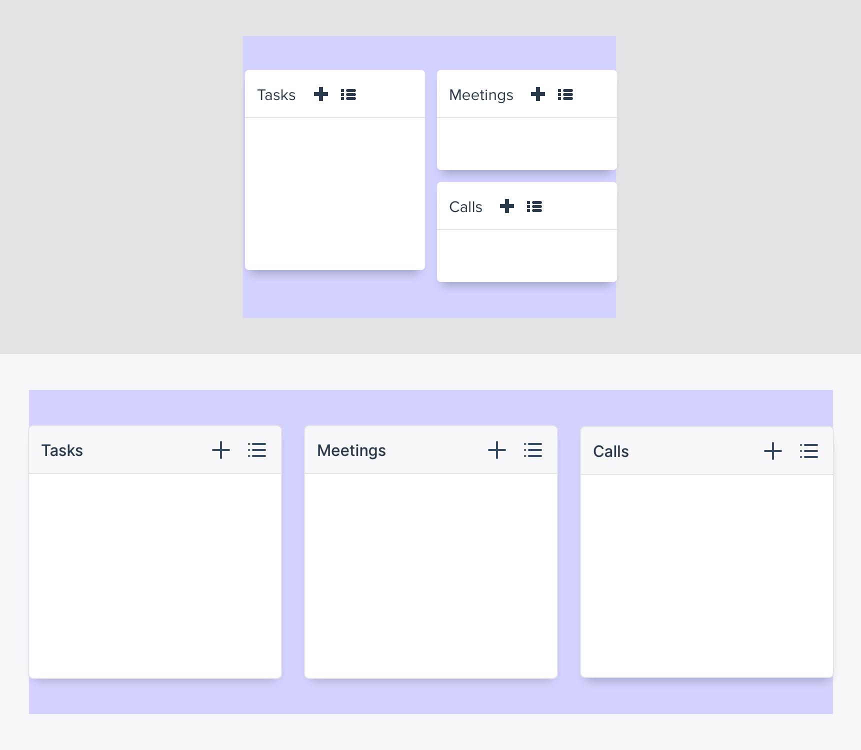 Het oude versus nieuwe design van de widgets op het dashboard