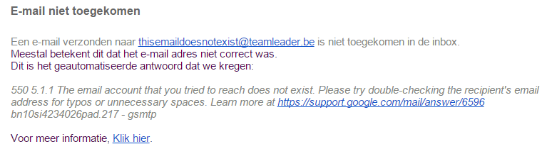 E-mail niet toegekomen
