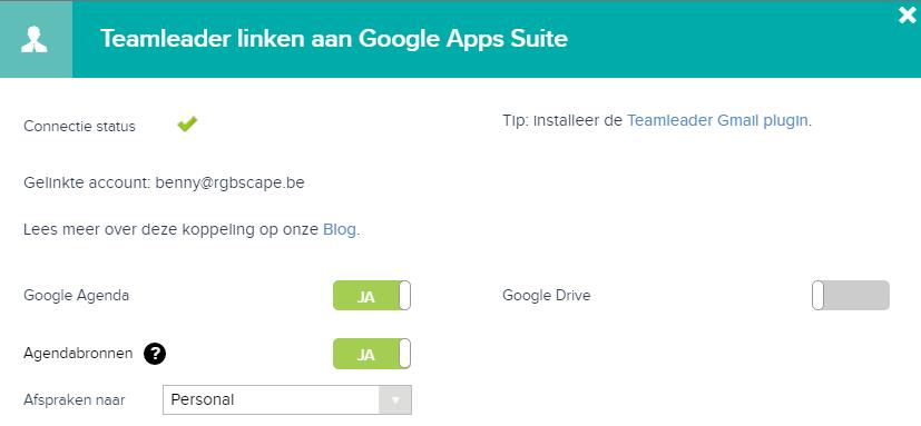 Teamleader linken aan Google Apps