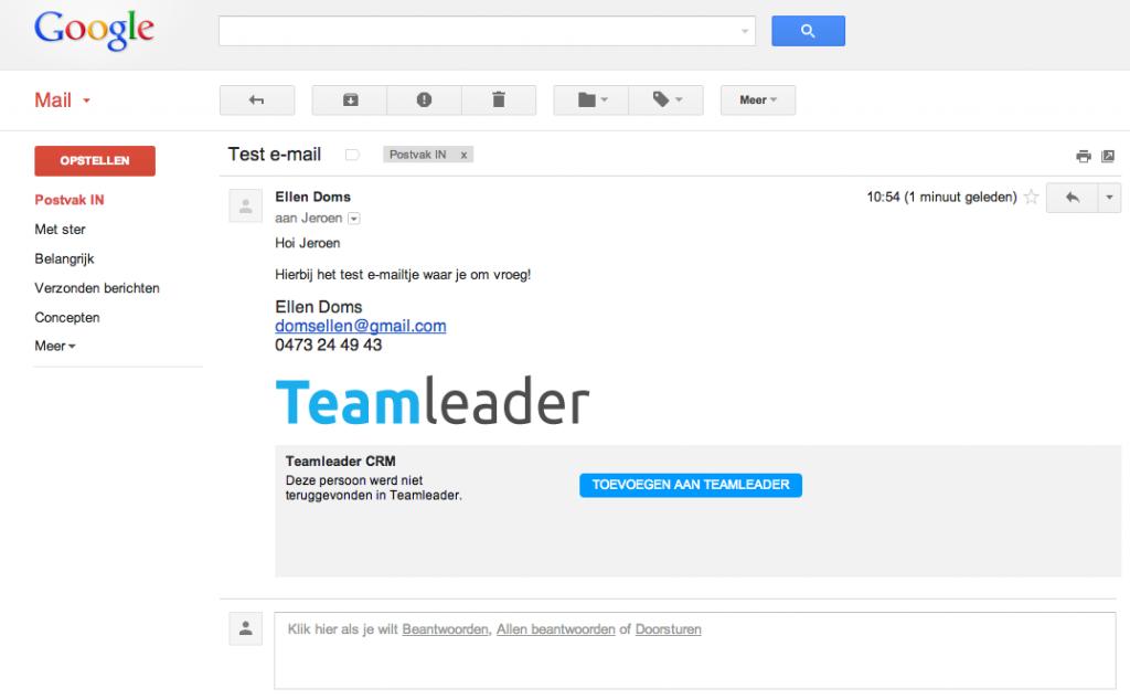 Contacten toevoegen aan Teamleader